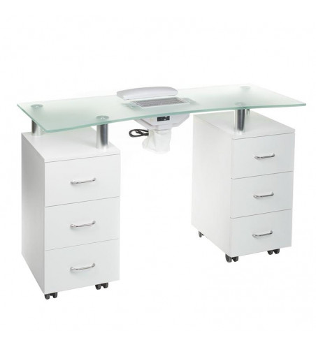 Manicure table with a dust absorber BD-3425-1+P white
