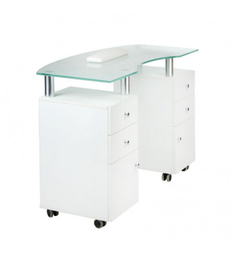 Manicure table with a glass top BD-3453 white