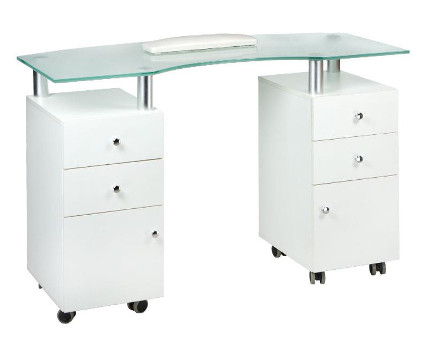 manicure table on wheels with glass top