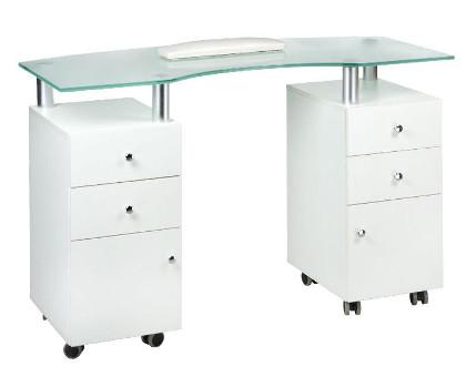 stolik do manicure na kółkach ze szklanym blatem