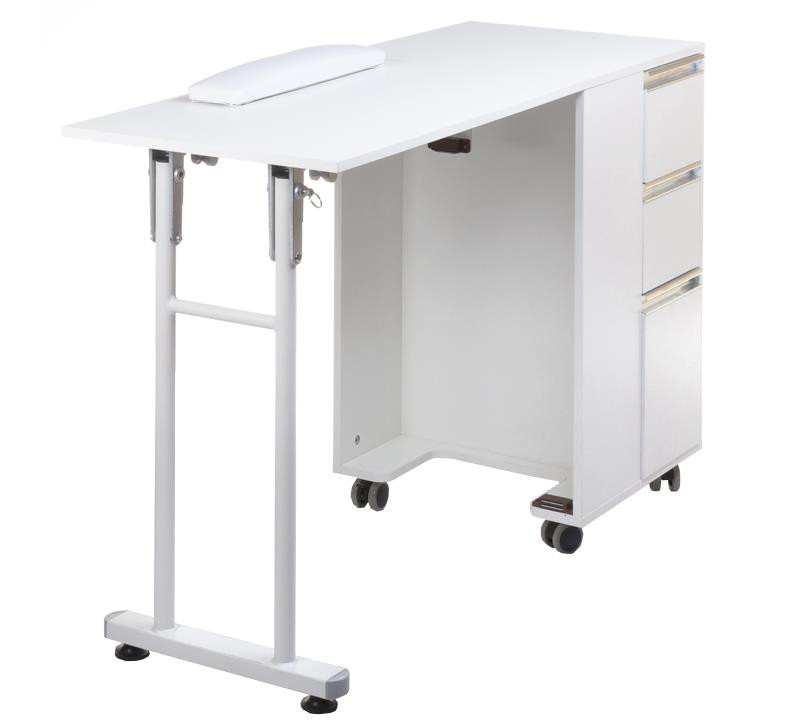 professional white manicure table on wheels