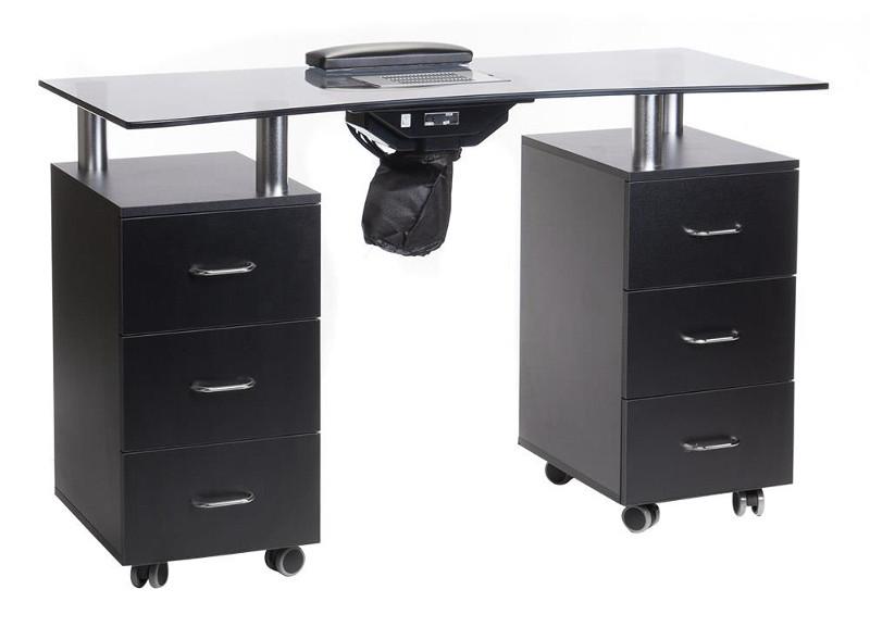 stolik do manicure na kółkach z szafkami i szufladami czarny