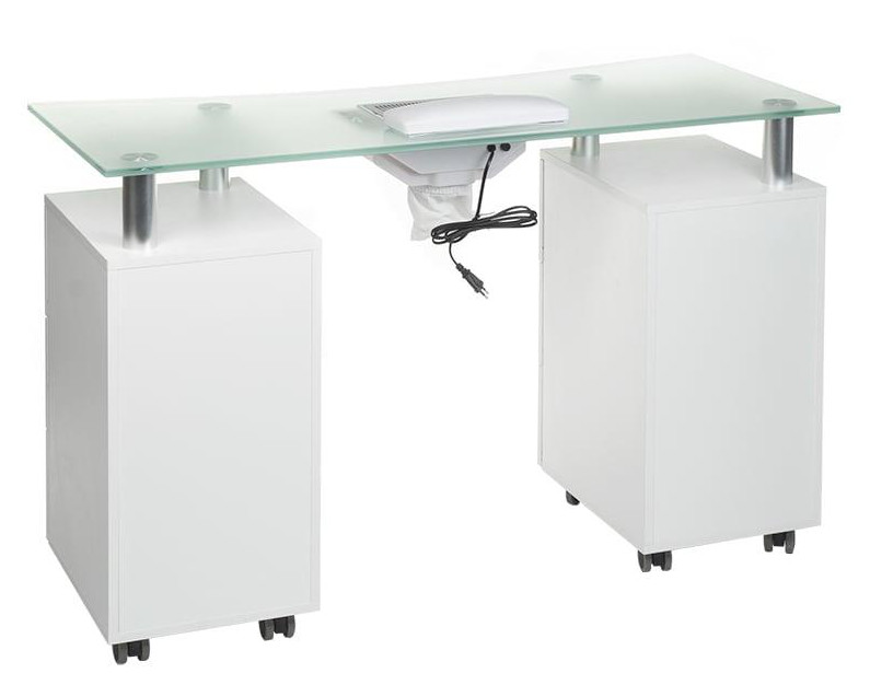 manicure table on wheels with cabinets and drawers